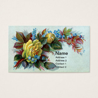 Yellow Rose and Bud Victorian Advertising Business Card