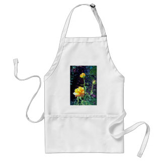 Yellow rose and buds, incandescent water glass dup aprons