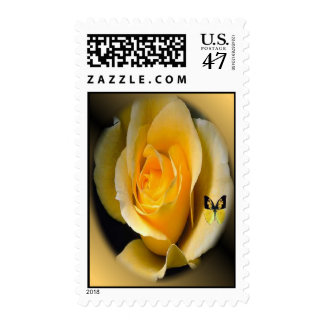 Yellow Rose and butterfly postage stamp