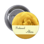 Yellow Rose and Gold Wedding Bridesmaid Button