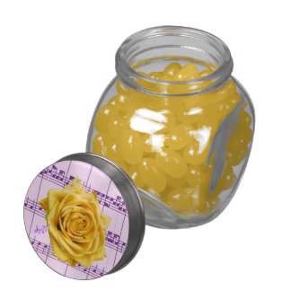 Yellow Rose and Music Glass Jelly Belly Jar Jelly Belly Candy Jars