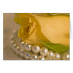 Yellow Rose and Pearls Greeting Cards