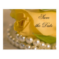 Yellow Rose and Pearls Save the Date Announcement Post Card