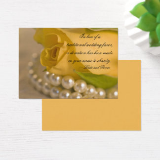 Yellow Rose and Pearls Wedding Charity Favor Card
