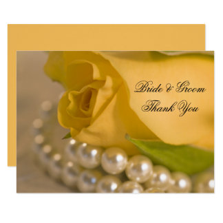 Yellow Rose and Pearls Wedding Flat Thank You Note Card
