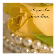 Yellow Rose and Pearls Wedding Invitation
