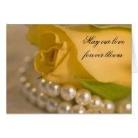 Yellow Rose and Pearls Wedding Invitation Greeting Card