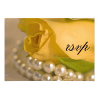 Yellow Rose and Pearls Wedding RSVP Response Card Custom Invitations