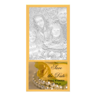 Yellow Rose and Pearls Wedding Save the Date Photo Card