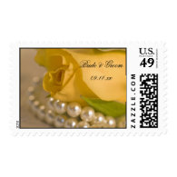 Yellow Rose and Pearls Wedding Stamp