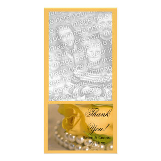 Yellow Rose and Pearls Wedding Thank You Photo Card
