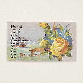 Yellow Rose and Steamship Victorian Trade Card