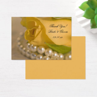 Yellow Rose and White Pearls Wedding Favor Tags