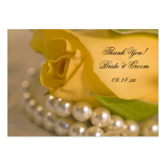 Yellow Rose and White Pearls Wedding Favor Tags Large Business Card