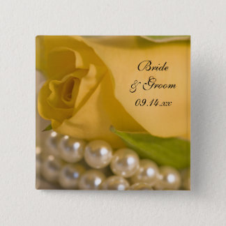 Yellow Rose and White Pearls Wedding Pinback Button