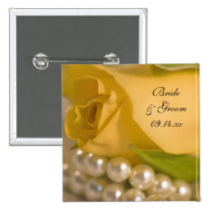 Yellow Rose And White Pearls Wedding Pinback Button at Zazzle