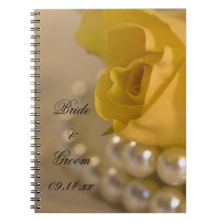 Yellow Rose and White Pearls Wedding Spiral Notebook