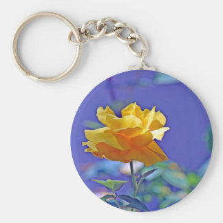 Yellow Rose Basic Round Button Keychain