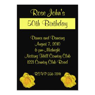 "Yellow Rose Birthday Invitation 5"" X 7"" Invitation Card"