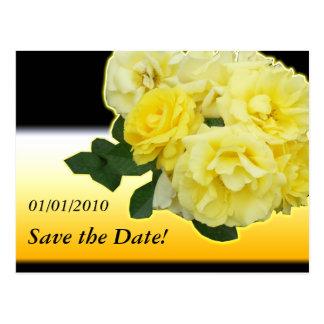 yellow rose black and orange postcard