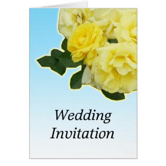 yellow rose blue sky wedding card
