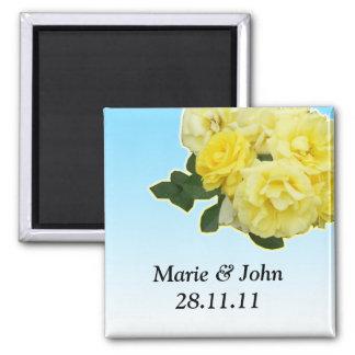 yellow rose blue sky wedding card fridge magnets