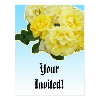 yellow rose blue sky wedding card postcard