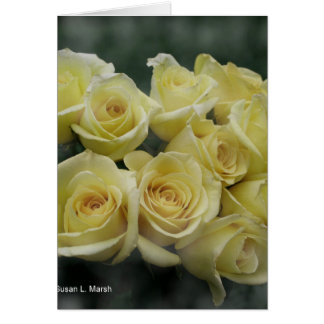 Yellow Rose bouquet spotted background Greeting Card