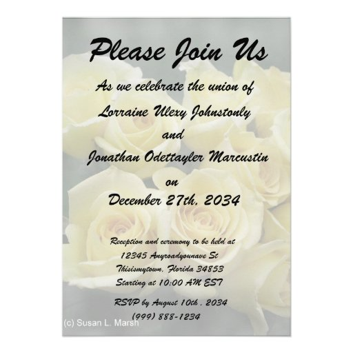 Yellow Rose bouquet spotted background Custom Invitation