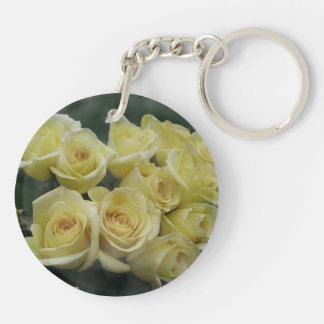 Yellow Rose bouquet spotted background Acrylic Keychains