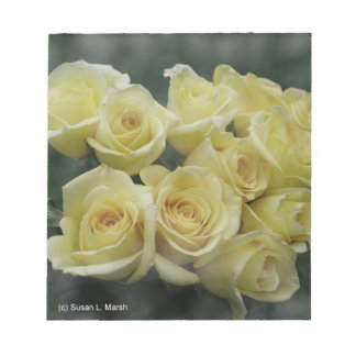 Yellow Rose bouquet spotted background Memo Pads