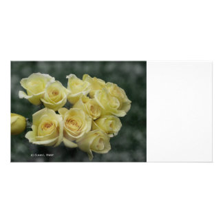 Yellow Rose bouquet spotted background Photo Card Template