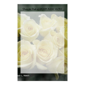 Yellow Rose bouquet spotted background Stationery