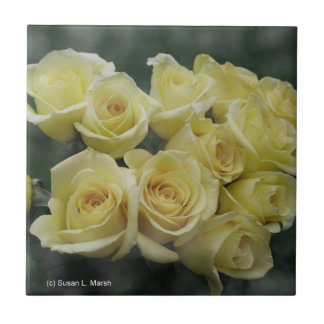 Yellow Rose bouquet spotted background Tile