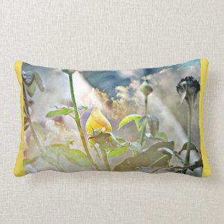 Yellow Rose Bud Lumbar Pillow