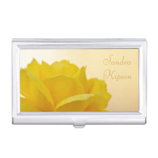 Yellow Rose Business Card Holder