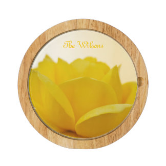 Yellow Rose Cheese Board Round Cheese Board