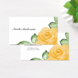 Yellow Rose Chic Elegant Floral Country Rustic Business Card