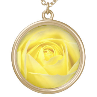 Yellow Rose Closeup Gold Plated Necklace