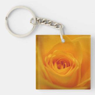 Yellow rose closeup keychain
