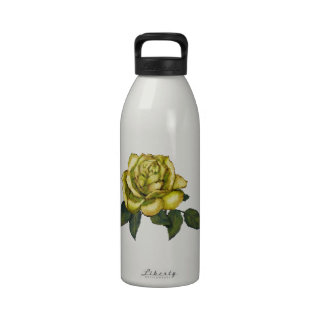 Yellow Rose Color Pencil Drawing Flower Reusable Water Bottle