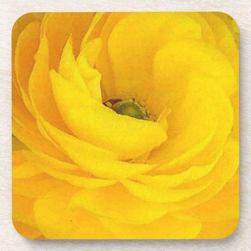 Yellow Rose Cork Coaster