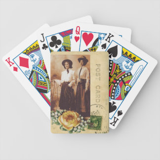 Yellow Rose Cowgirl Postcard Vintage Photo Collage Bicycle Playing Cards