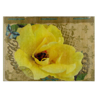 Yellow Rose & Crown with Butterfly & Fleurs de lis Cutting Board