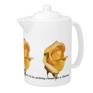 Yellow Rose Customizable Teapot