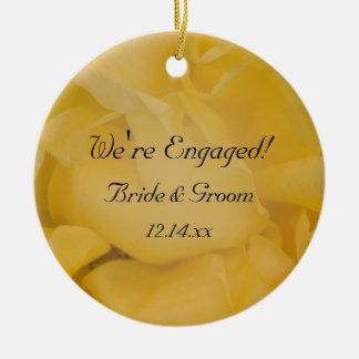 Yellow Rose Engagement Photo Ornament