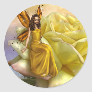 Yellow Rose Faery (Stickers) Classic Round Sticker