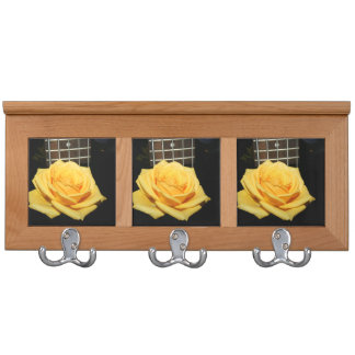 yellow rose five string bass music design photo coat rack