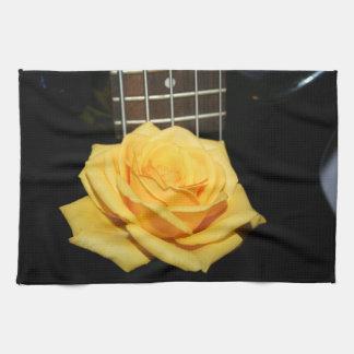 yellow rose five string bass music design photo hand towel