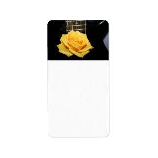 yellow rose five string bass music design photo address label